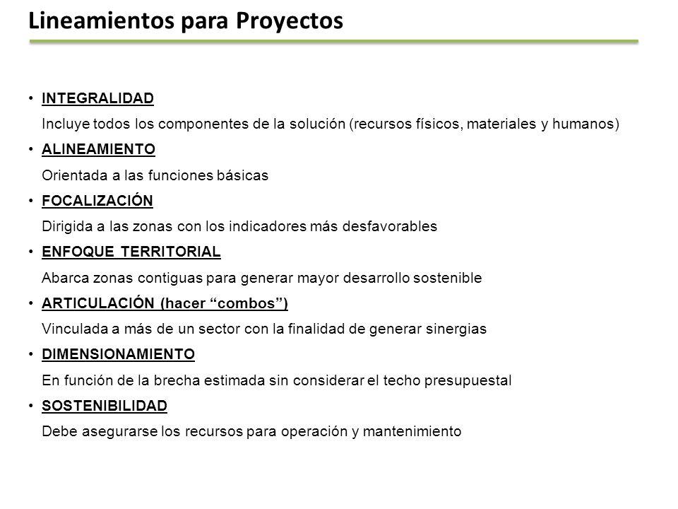 Lineamientos para Proyectos INTEGRALIDAD Incluye todos los componentes de la solución (recursos físicos, materiales y humanos) ALINEAMIENTO Orientada