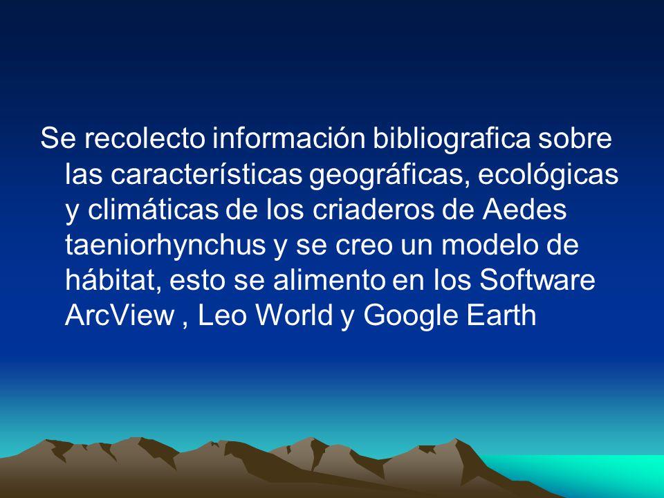 Se recolecto información bibliografica sobre las características geográficas, ecológicas y climáticas de los criaderos de Aedes taeniorhynchus y se creo un modelo de hábitat, esto se alimento en los Software ArcView, Leo World y Google Earth