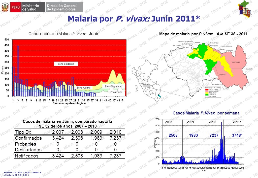 FUENTE : MINSA – DGE – RENACE Hasta la SE 38 - 2011 DENGUE: Departamento Cajamarca 2011* Casos de dengue en Cajamarca, comparado hasta la SE 38 de los años 2007 – 2011 Curva de casos de Dengue en Cajamarca 2008 – 2011* 20082009 2011* 2010 Mapa de incidencia.