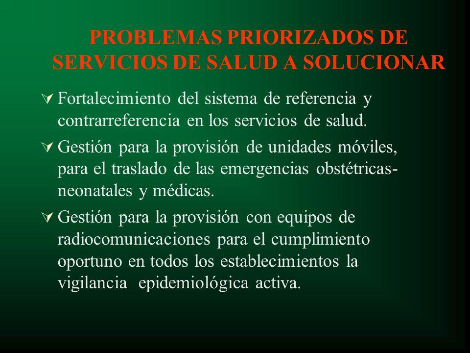 PROBLEMAS PRIORIZADOS DE SERVICIOS DE SALUD A SOLUCIONAR Fortalecimiento del sistema de referencia y contrarreferencia en los servicios de salud.