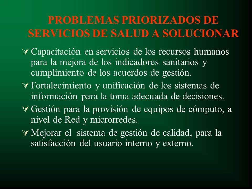 PROBLEMAS PRIORIZADOS DE SERVICIOS DE SALUD A SOLUCIONAR Capacitación en servicios de los recursos humanos para la mejora de los indicadores sanitarios y cumplimiento de los acuerdos de gestión.