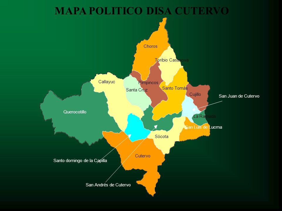 Microredes Disa Cutervo El distrito con mayor población es Cutervo con el 36% de la Población total.