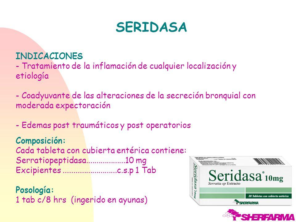 Los usos terapéuticos de Serratipeptidasa se evidencian en: Cirugía: Traumatismos de diversa índole Contusiones desgarros musculares. Neumología : Bro