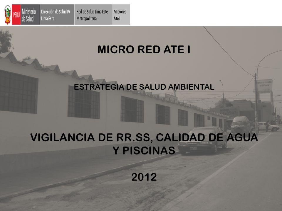 MICRO RED ATE I ESTRATEGIA DE SALUD AMBIENTAL VIGILANCIA DE RR.SS, CALIDAD DE AGUA Y PISCINAS 2012
