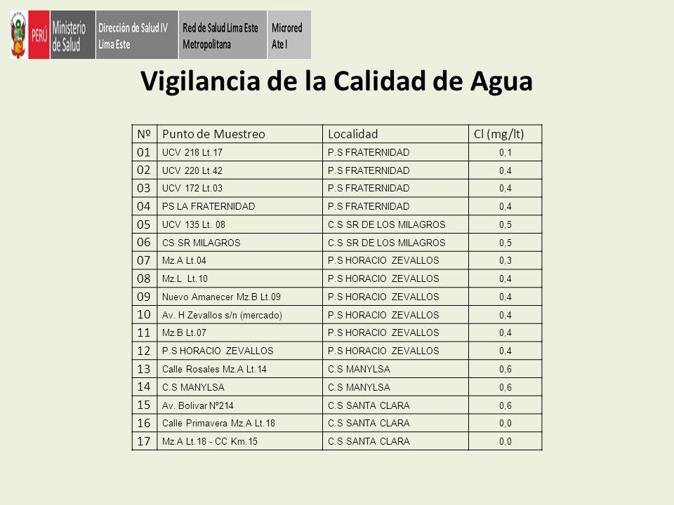 Vigilancia de la Calidad de Agua NºPunto de MuestreoLocalidadCl (mg/lt) 18 C.C Km.14.5 - Comedor San MartinC.S SANTA CLARA0,0 19 Mz D Lte 16 Asoc.