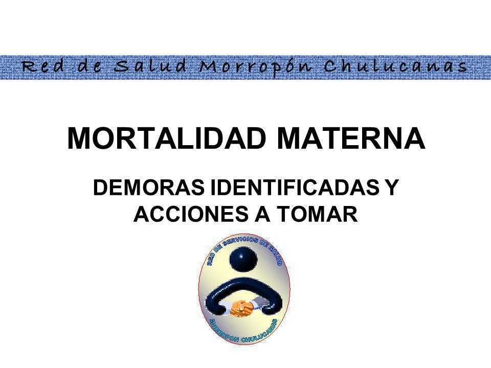DEMORAS IDENTIFICADAS Y ACCIONES A TOMAR MORTALIDAD MATERNA