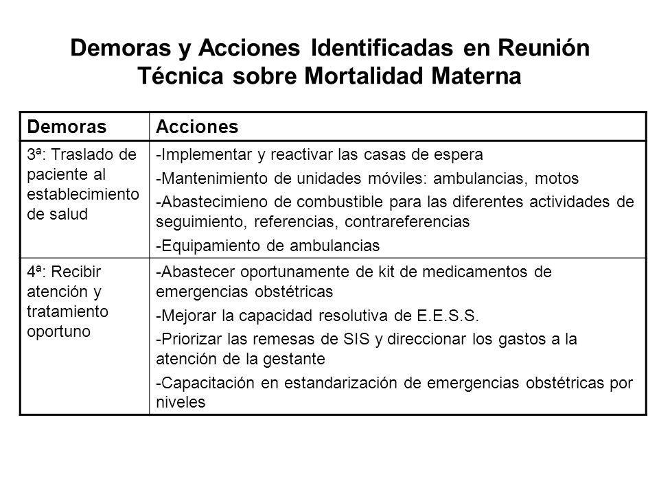 DemorasAcciones 3ª: Traslado de paciente al establecimiento de salud -Implementar y reactivar las casas de espera -Mantenimiento de unidades móviles: