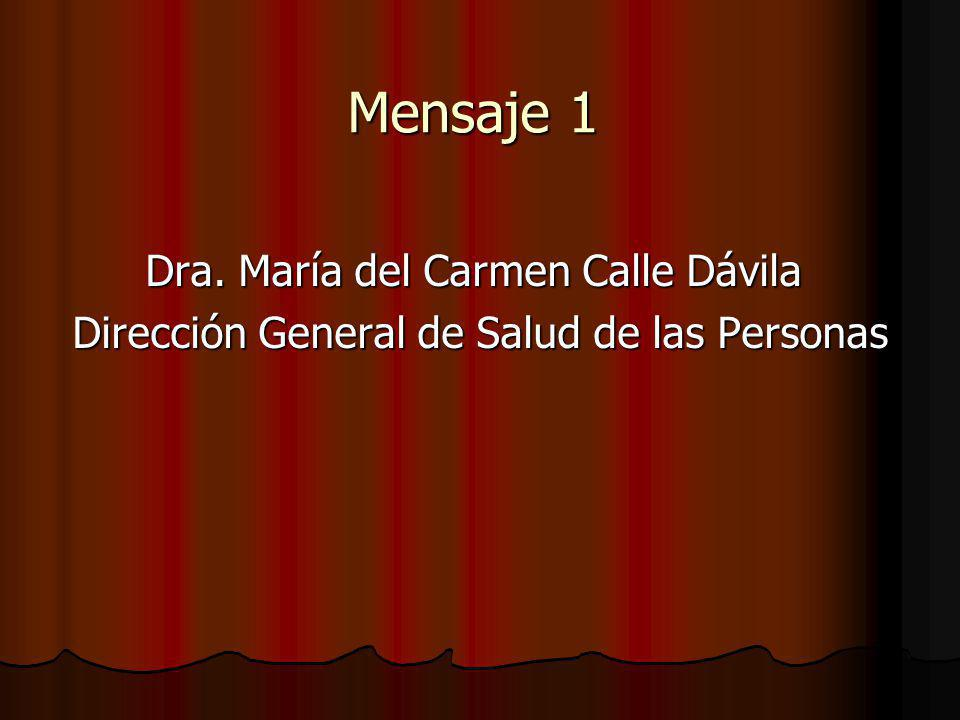 Mensaje 1 Dra. María del Carmen Calle Dávila Dirección General de Salud de las Personas Dirección General de Salud de las Personas