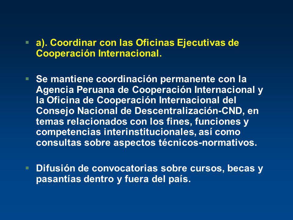 §a). Coordinar con las Oficinas Ejecutivas de Cooperación Internacional. §Se mantiene coordinación permanente con la Agencia Peruana de Cooperación In