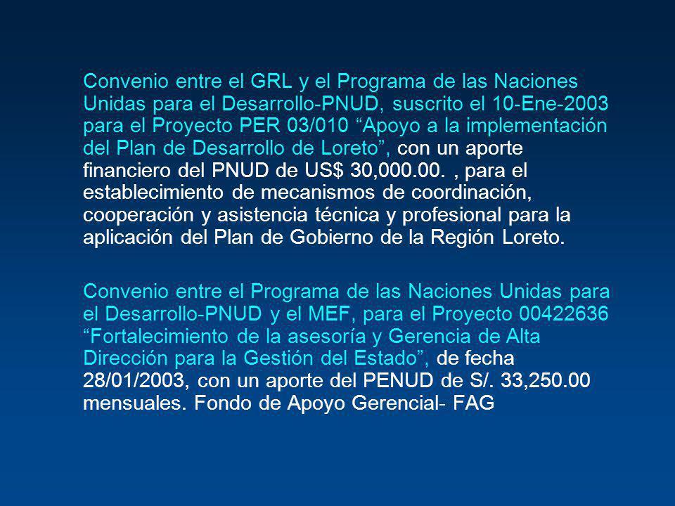 Convenio entre el GRL y el Programa de las Naciones Unidas para el Desarrollo-PNUD, suscrito el 10-Ene-2003 para el Proyecto PER 03/010 Apoyo a la imp