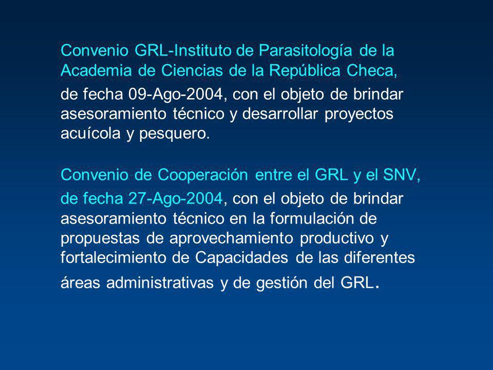Convenio GRL-Instituto de Parasitología de la Academia de Ciencias de la República Checa, de fecha 09-Ago-2004, con el objeto de brindar asesoramiento