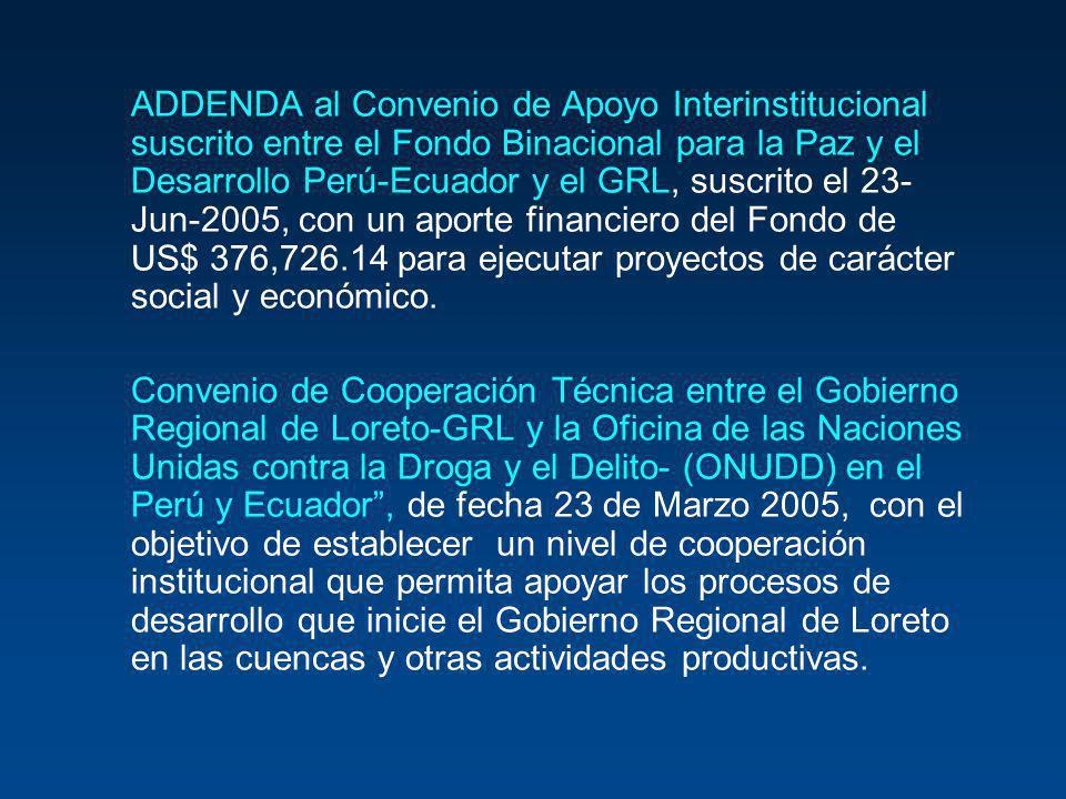 ADDENDA al Convenio de Apoyo Interinstitucional suscrito entre el Fondo Binacional para la Paz y el Desarrollo Perú-Ecuador y el GRL, suscrito el 23-