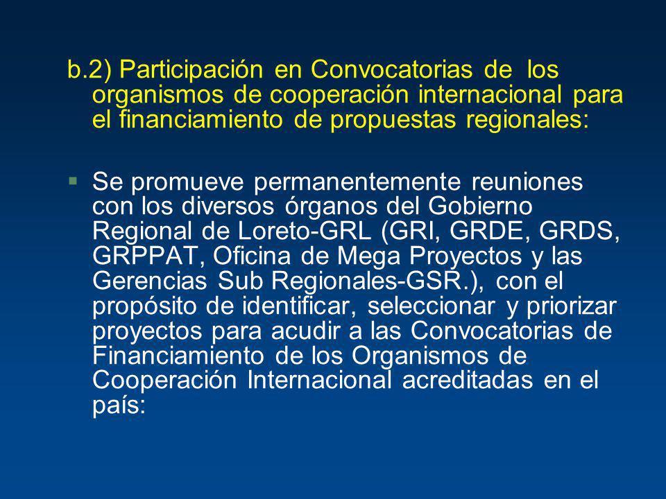 b.2) Participación en Convocatorias de los organismos de cooperación internacional para el financiamiento de propuestas regionales: §Se promueve perma