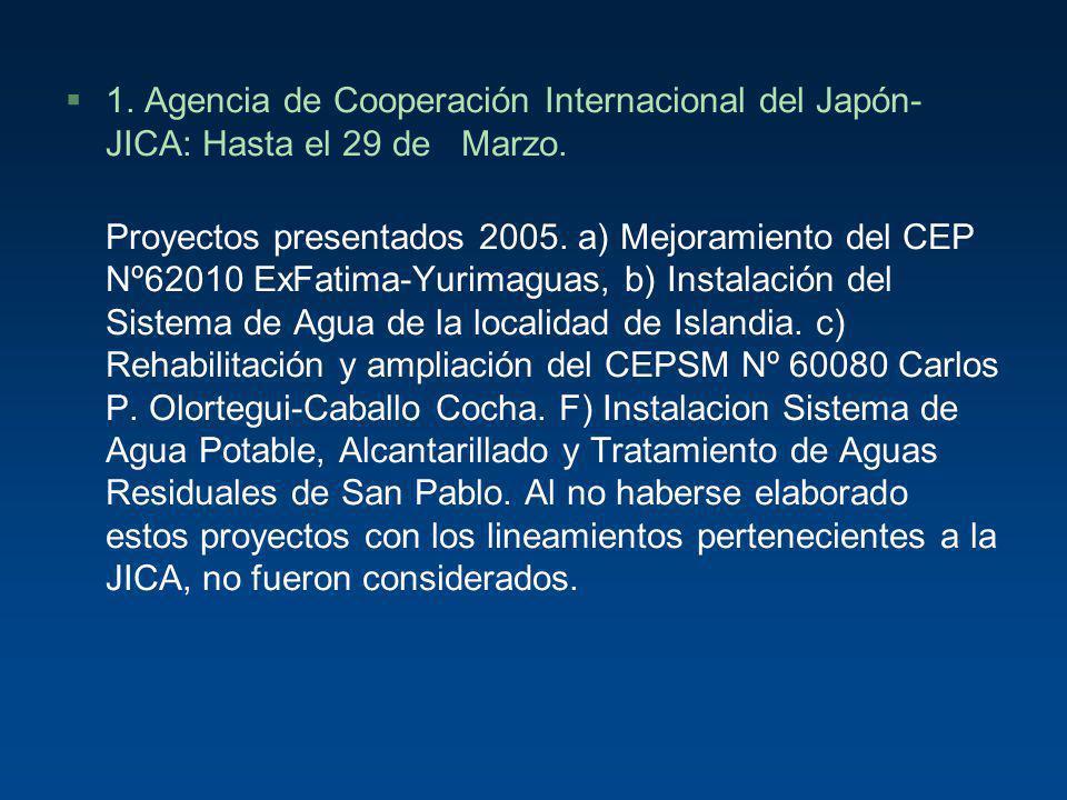 §1. Agencia de Cooperación Internacional del Japón- JICA: Hasta el 29 de Marzo. Proyectos presentados 2005. a) Mejoramiento del CEP Nº62010 ExFatima-Y