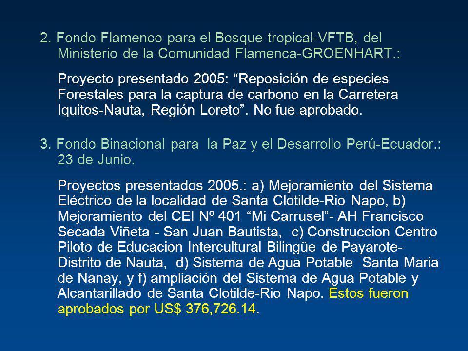 2. Fondo Flamenco para el Bosque tropical-VFTB, del Ministerio de la Comunidad Flamenca-GROENHART.: Proyecto presentado 2005: Reposición de especies F