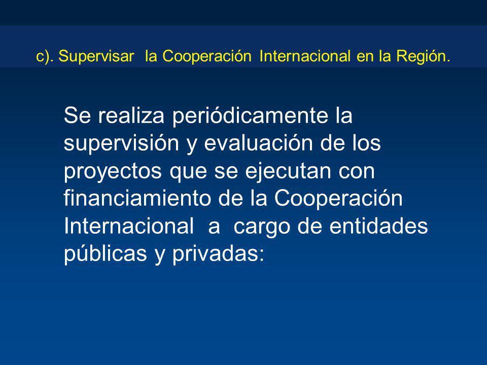 c). Supervisar la Cooperación Internacional en la Región. Se realiza periódicamente la supervisión y evaluación de los proyectos que se ejecutan con f
