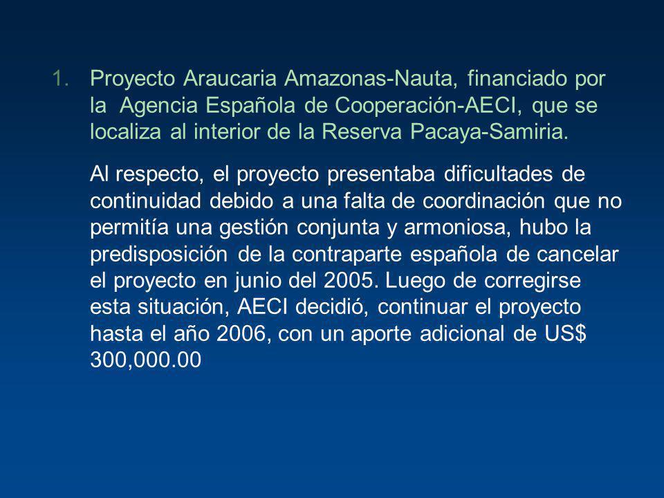 1.Proyecto Araucaria Amazonas-Nauta, financiado por la Agencia Española de Cooperación-AECI, que se localiza al interior de la Reserva Pacaya-Samiria.