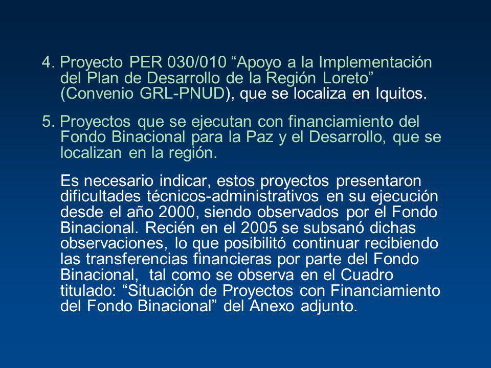 4. Proyecto PER 030/010 Apoyo a la Implementación del Plan de Desarrollo de la Región Loreto (Convenio GRL-PNUD), que se localiza en Iquitos. 5. Proye
