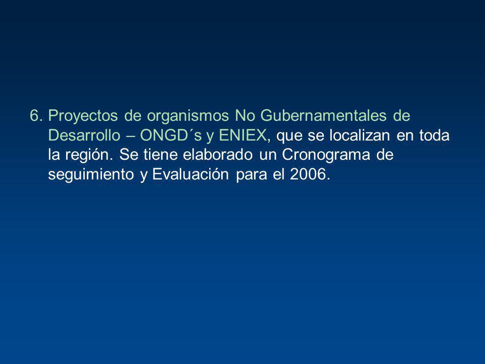 6.Proyectos de organismos No Gubernamentales de Desarrollo – ONGD´s y ENIEX, que se localizan en toda la región. Se tiene elaborado un Cronograma de s