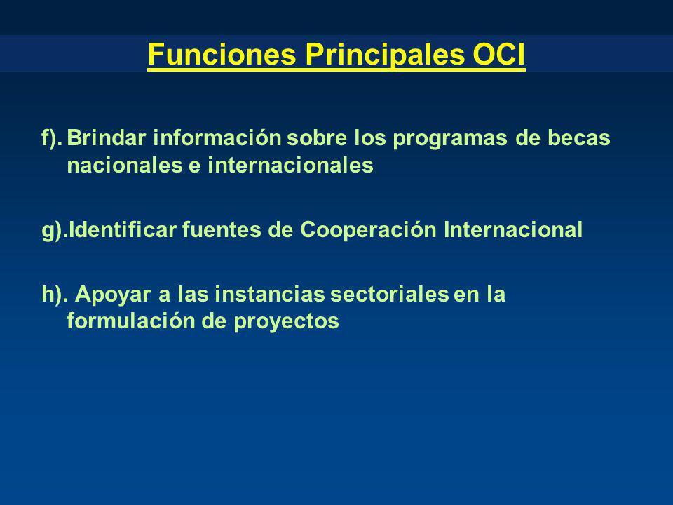 Funciones Principales OCI f).Brindar información sobre los programas de becas nacionales e internacionales g).Identificar fuentes de Cooperación Inter