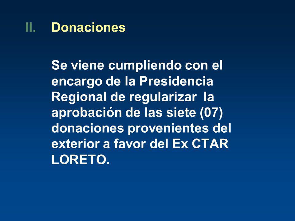 II.Donaciones Se viene cumpliendo con el encargo de la Presidencia Regional de regularizar la aprobación de las siete (07) donaciones provenientes del