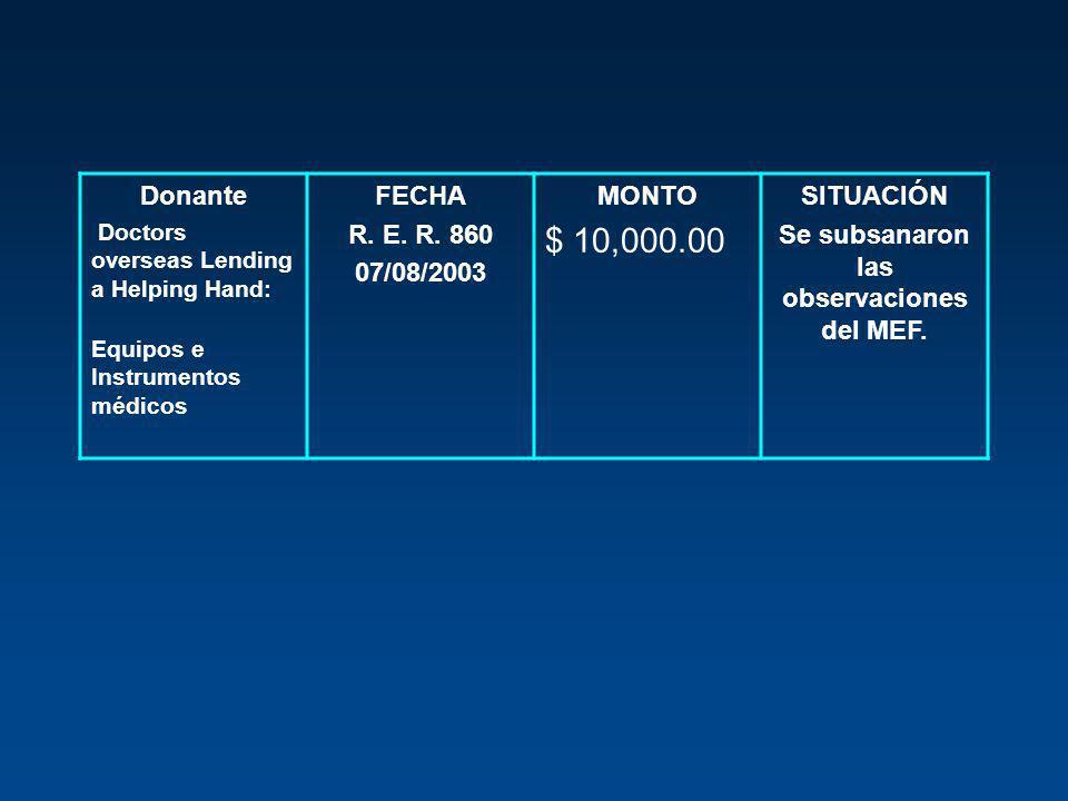 Donante Doctors overseas Lending a Helping Hand: Equipos e Instrumentos médicos FECHA R. E. R. 860 07/08/2003 MONTO $ 10,000.00 SITUACIÓN Se subsanaro