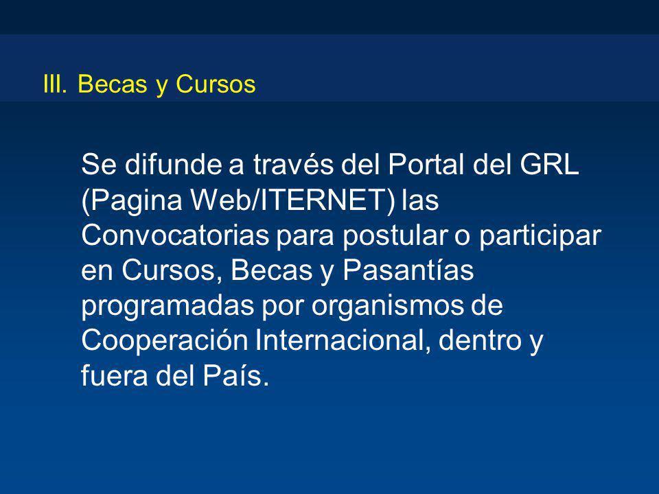 III. Becas y Cursos Se difunde a través del Portal del GRL (Pagina Web/ITERNET) las Convocatorias para postular o participar en Cursos, Becas y Pasant