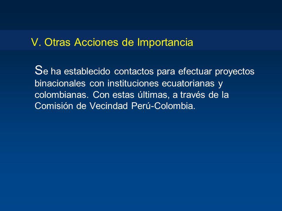 V. Otras Acciones de Importancia S e ha establecido contactos para efectuar proyectos binacionales con instituciones ecuatorianas y colombianas. Con e