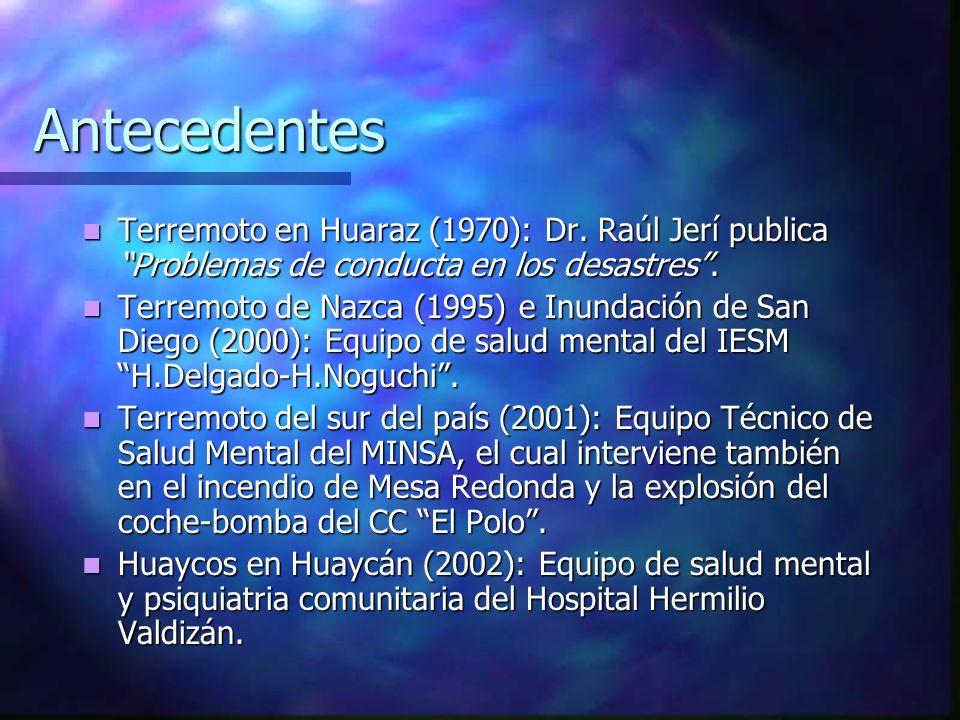 Antecedentes Terremoto en Huaraz (1970): Dr. Raúl Jerí publica Problemas de conducta en los desastres. Terremoto en Huaraz (1970): Dr. Raúl Jerí publi