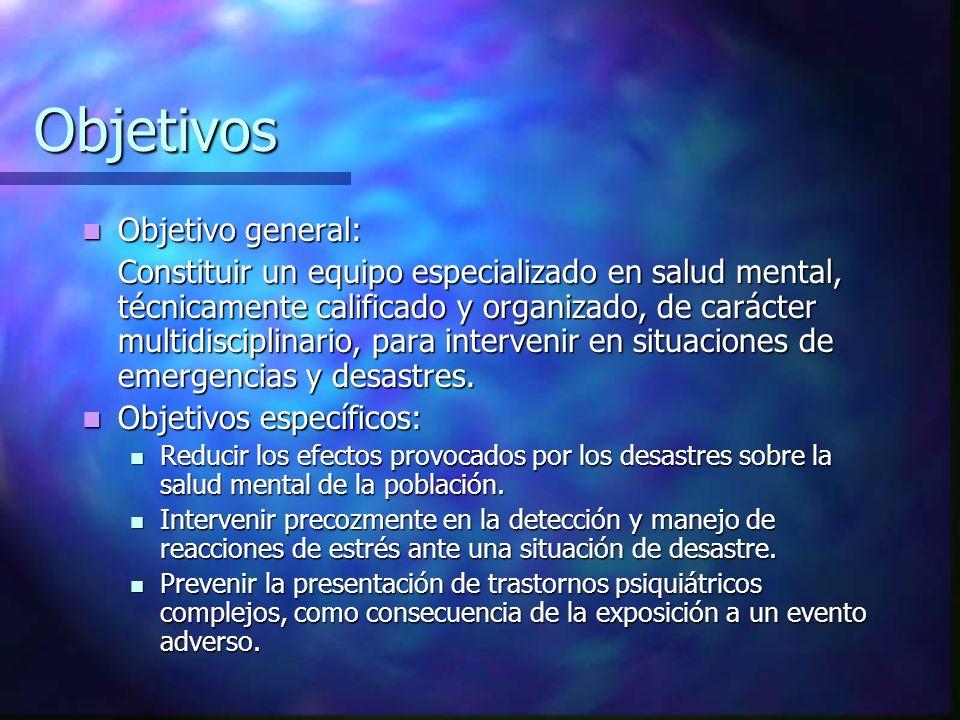 Objetivos Objetivo general: Objetivo general: Constituir un equipo especializado en salud mental, técnicamente calificado y organizado, de carácter mu