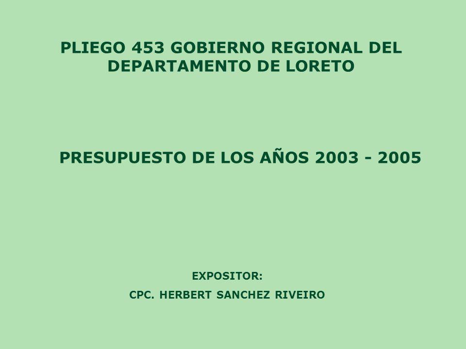 PLIEGO 453 GOBIERNO REGIONAL DEL DEPARTAMENTO DE LORETO PRESUPUESTO DE LOS AÑOS 2003 - 2005 EXPOSITOR: CPC. HERBERT SANCHEZ RIVEIRO