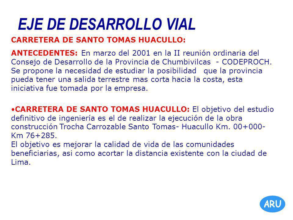EJE DE DESARROLLO VIAL CARRETERA DE SANTO TOMAS HUACULLO: ANTECEDENTES: En marzo del 2001 en la II reunión ordinaria del Consejo de Desarrollo de la Provincia de Chumbivilcas - CODEPROCH.