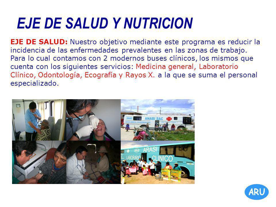 EJE DE SALUD Y NUTRICION EJE DE SALUD: Nuestro objetivo mediante este programa es reducir la incidencia de las enfermedades prevalentes en las zonas de trabajo.