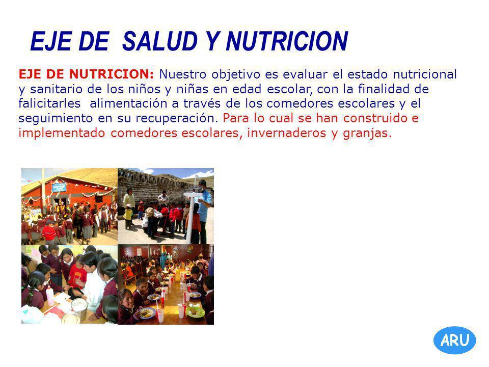 EJE DE SALUD Y NUTRICION EJE DE NUTRICION: Nuestro objetivo es evaluar el estado nutricional y sanitario de los niños y niñas en edad escolar, con la finalidad de falicitarles alimentación a través de los comedores escolares y el seguimiento en su recuperación.