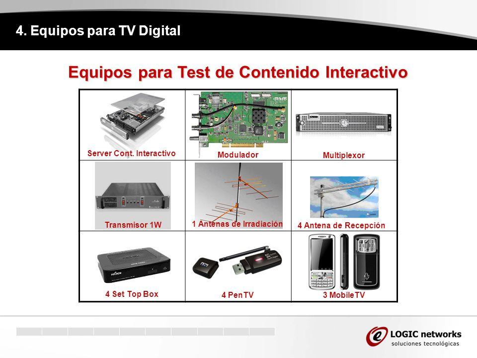 4. Equipos para TV Digital Equipos para Test de Contenido Interactivo 4 PenTV Server Cont. Interactivo Transmisor 1W 1 Antenas de Irradiación 4 Antena