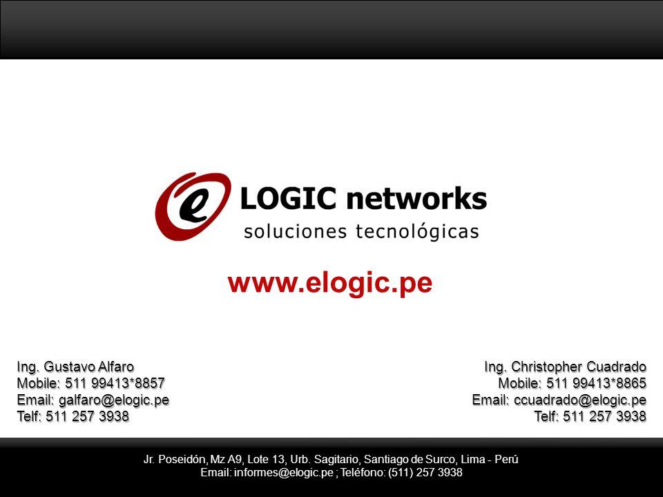 Jr. Poseidón, Mz A9, Lote 13, Urb. Sagitario, Santiago de Surco, Lima - Perú Email: informes@elogic.pe ; Teléfono: (511) 257 3938 www.elogic.pe Ing. G