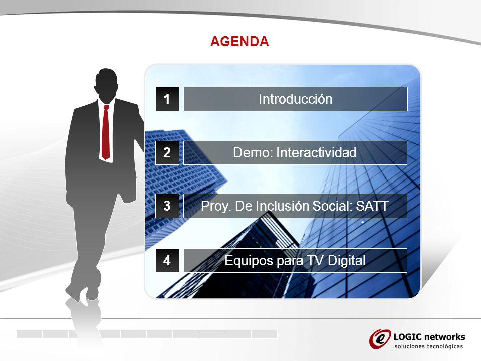 AGENDA 1Introducción 2Demo: Interactividad 3Proy. De Inclusión Social: SATT 4Equipos para TV Digital