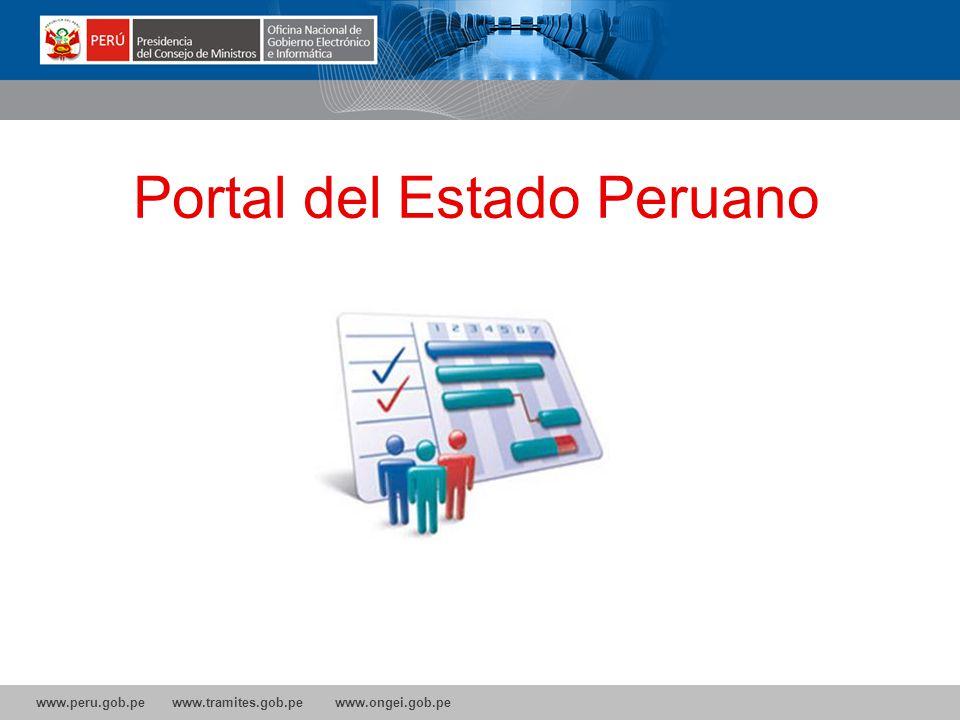 www.peru.gob.pe www.tramites.gob.pe www.ongei.gob.pe Portal del Estado Peruano