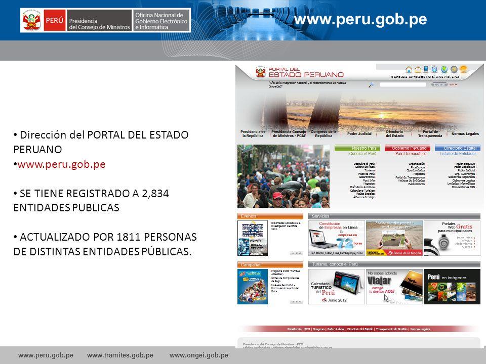 www.peru.gob.pe www.tramites.gob.pe www.ongei.gob.pe www.peru.gob.pe Dirección del PORTAL DEL ESTADO PERUANO www.peru.gob.pe SE TIENE REGISTRADO A 2,8