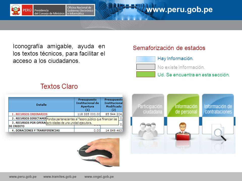 www.peru.gob.pe www.tramites.gob.pe www.ongei.gob.pe www.peru.gob.pe Textos Claro Semaforización de estados Hay Información. No existe Información. Ud