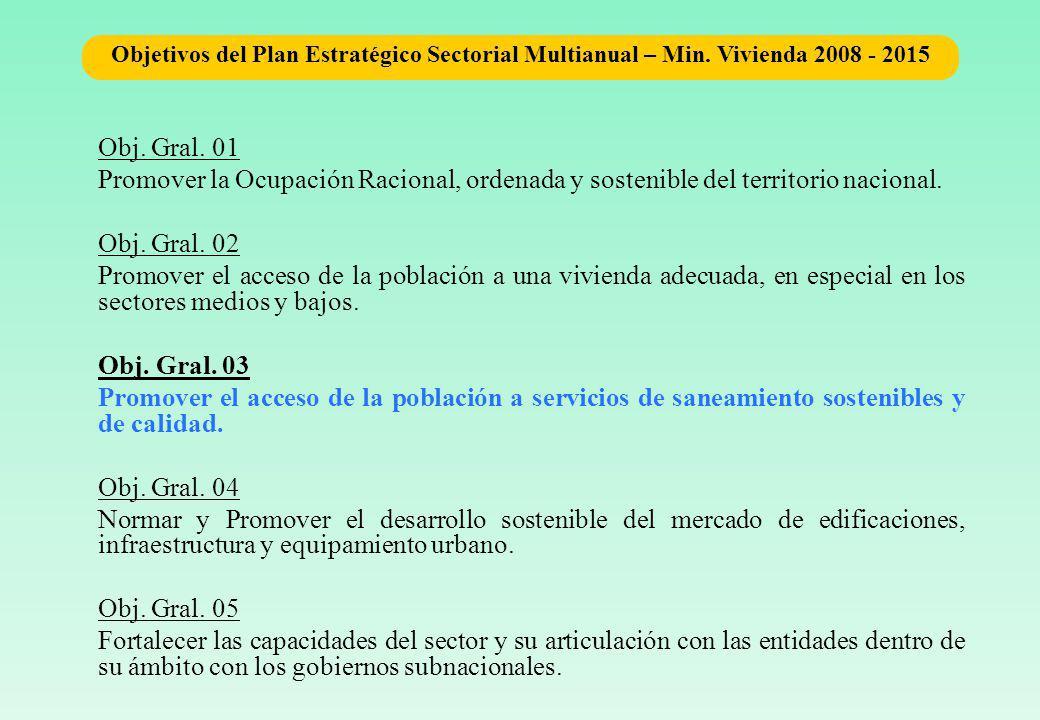 Obj.Gral. 01 Promover la Ocupación Racional, ordenada y sostenible del territorio nacional.