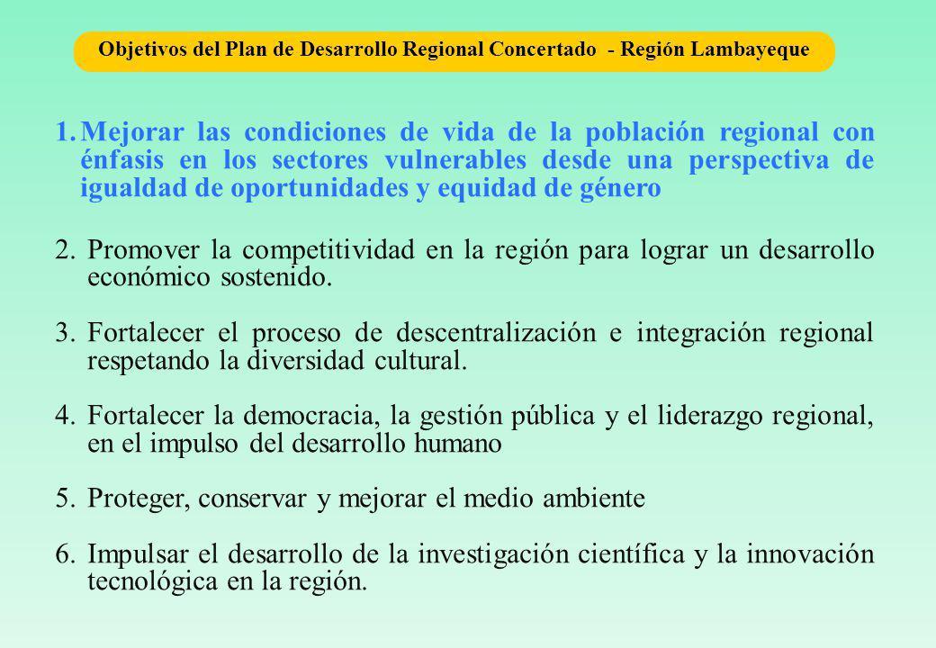 1.Mejorar las condiciones de vida de la población regional con énfasis en los sectores vulnerables desde una perspectiva de igualdad de oportunidades y equidad de género 2.Promover la competitividad en la región para lograr un desarrollo económico sostenido.