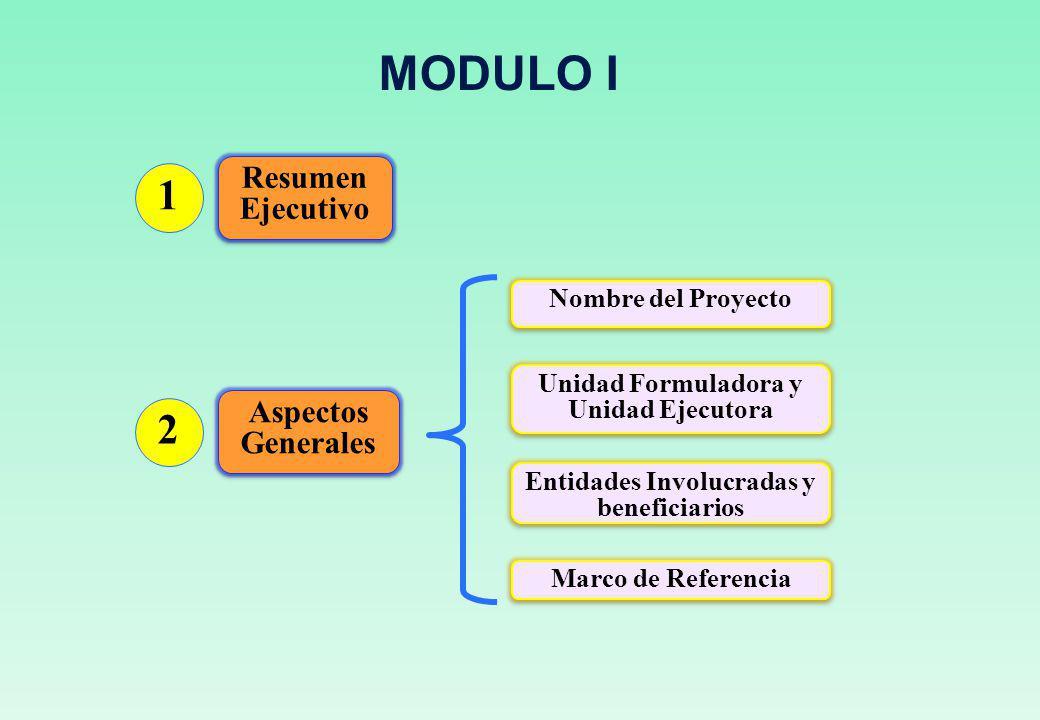 Unidad Formuladora y Unidad Ejecutora Entidades Involucradas y beneficiarios Marco de Referencia Nombre del Proyecto Resumen Ejecutivo 1 Aspectos Generales 2