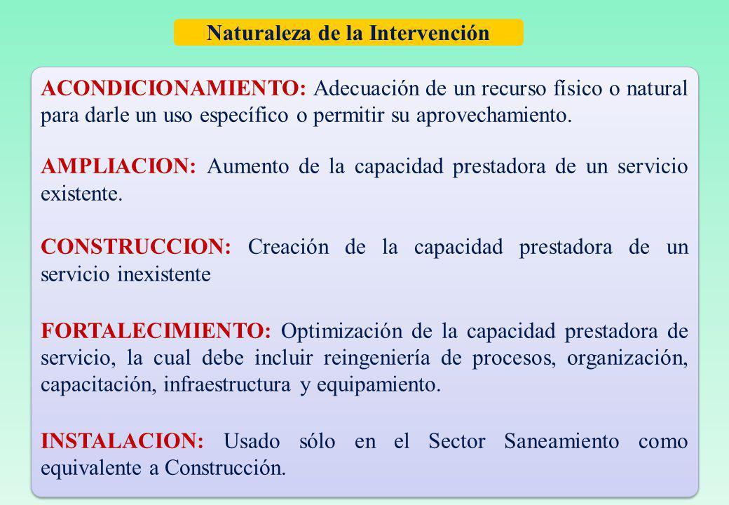 Naturaleza de la Intervención ACONDICIONAMIENTO: Adecuación de un recurso físico o natural para darle un uso específico o permitir su aprovechamiento.