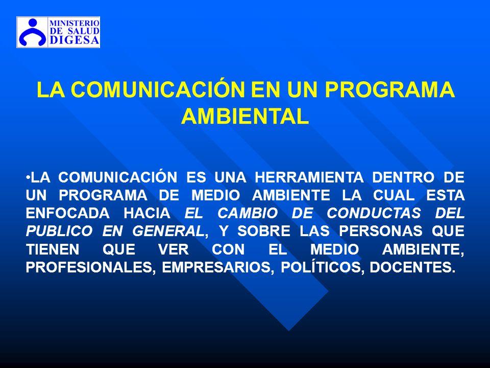 LA COMUNICACIÓN EN UN PROGRAMA AMBIENTAL LA COMUNICACIÓN ES UNA HERRAMIENTA DENTRO DE UN PROGRAMA DE MEDIO AMBIENTE LA CUAL ESTA ENFOCADA HACIA EL CAM