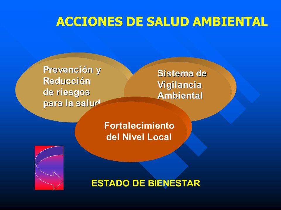 Prevención y Reducción de riesgos para la salud Sistema de Vigilancia Ambiental Fortalecimiento del Nivel Local ESTADO DE BIENESTAR ACCIONES DE SALUD