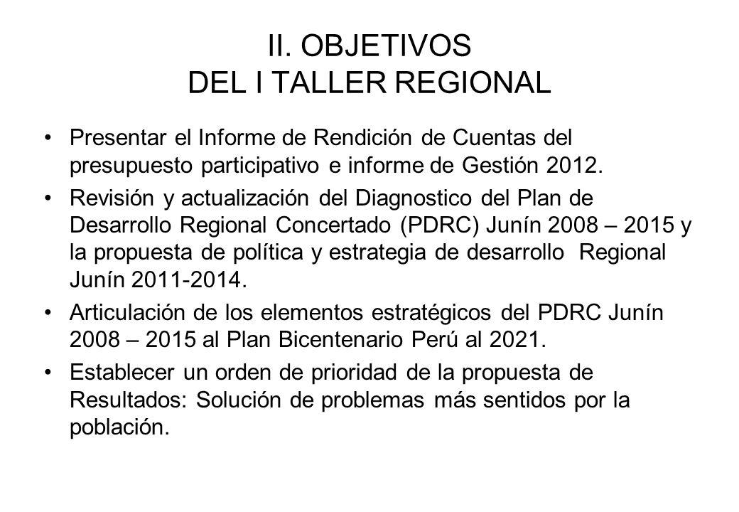 II. OBJETIVOS DEL I TALLER REGIONAL Presentar el Informe de Rendición de Cuentas del presupuesto participativo e informe de Gestión 2012. Revisión y a