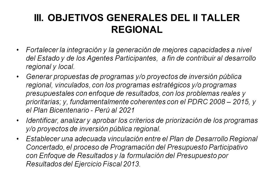 III. OBJETIVOS GENERALES DEL II TALLER REGIONAL Fortalecer la integración y la generación de mejores capacidades a nivel del Estado y de los Agentes P