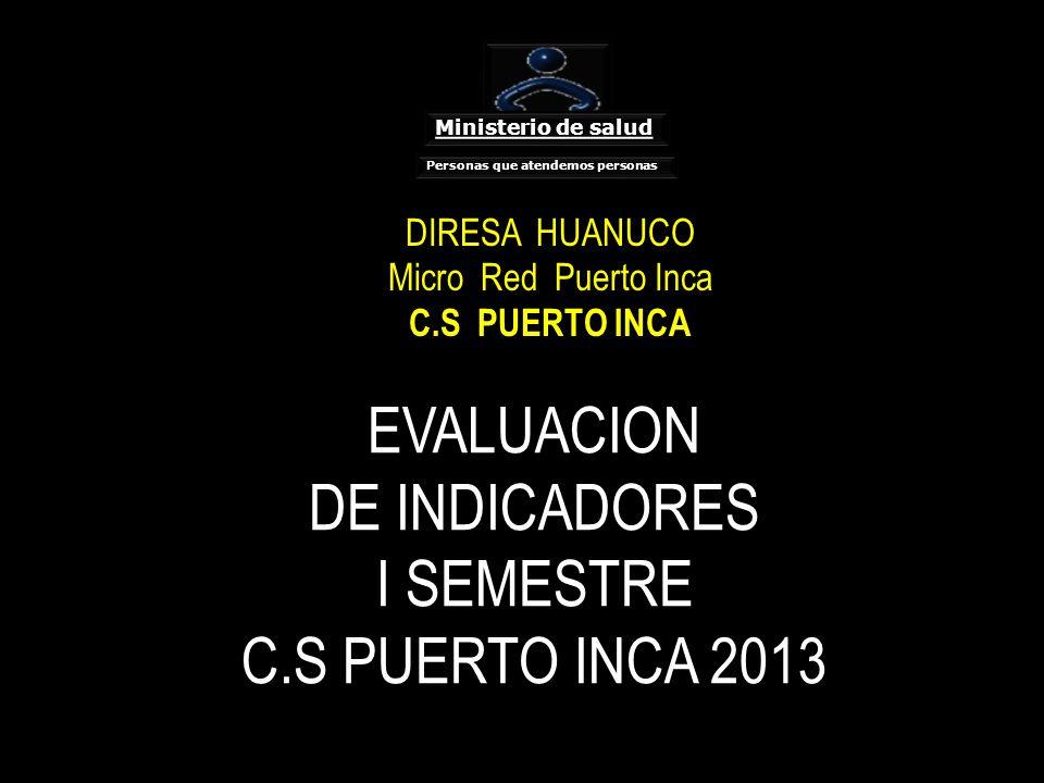 EVALUACION DE INDICADORES I SEMESTRE C.S PUERTO INCA 2013 DIRESA HUANUCO Micro Red Puerto Inca C.S PUERTO INCA Ministerio de salud Personas que atendemos personas
