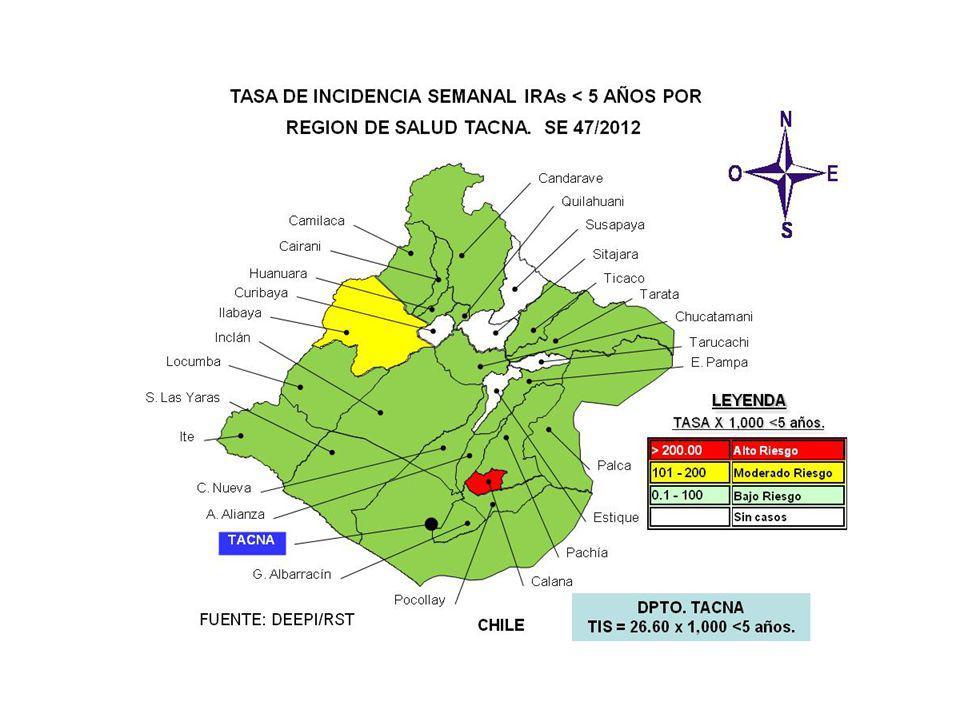 CASOS DE IRAS Y NEUMONIAS POR SEMANAS DEPARTAMENTO TACNA (SE 01 A 47 - 2011 y 2012) SEMANA 20112012 IRAs 1 Tasa x 1000 <5a.